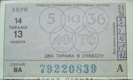 "Карточка ""Субботнего спортлото"", 1970 год"