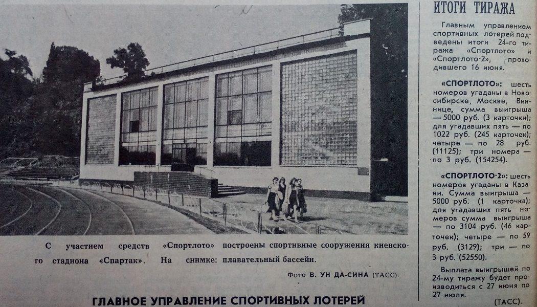 С участием средств Спортлото построены спортивные сооружения киевского стадиона Спартак