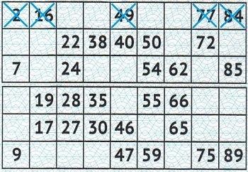 Игровое поле билета Жилищной лотереи, одна строка заполнена