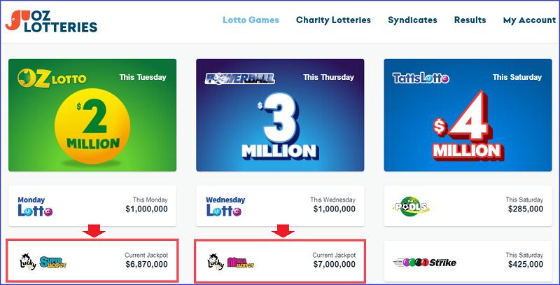 Скрин сайта OzLotteries, лотереи Mega Jack и Super Jack