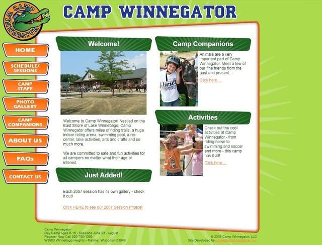 Скрин сайта лагеря