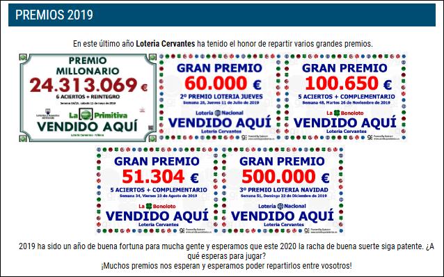 Перечень крупных выигрышей, выпавших в Сервантесе в 2019