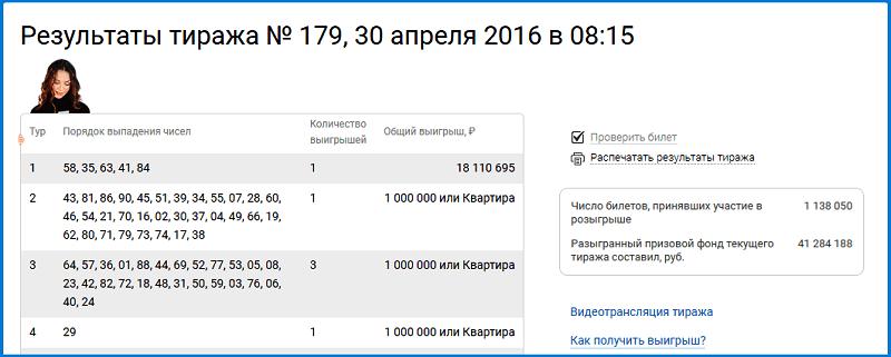 Результаты 179 Тиража Жилищной лотереи