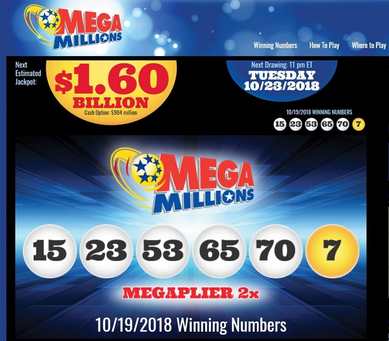 Скрин официального сайта (megamillions.com)