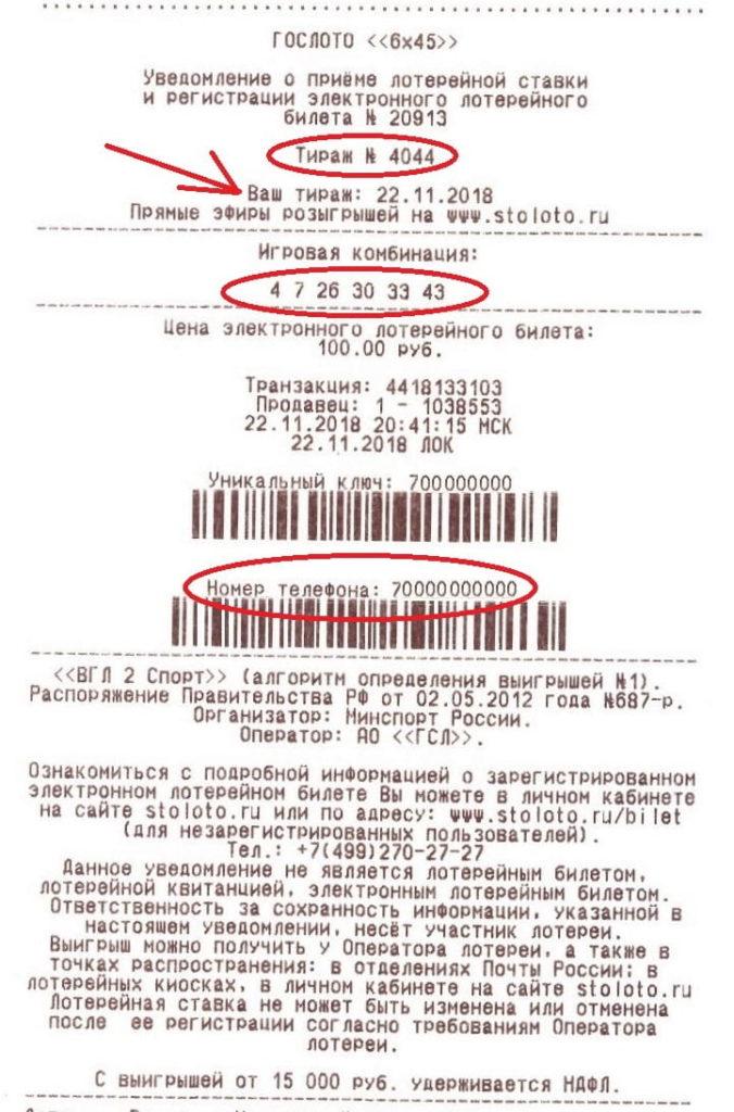 Данные электронного билета на чеке