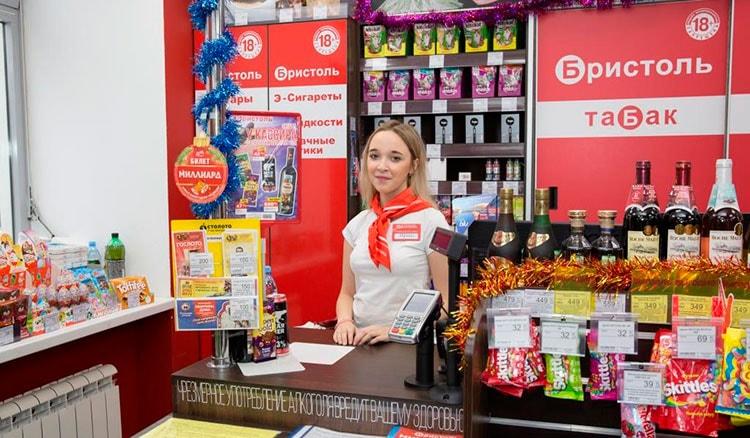 Лотерейные билеты Столото в прикассовой зоне магазина Бристоль