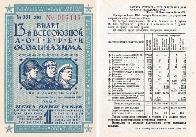 13-й билет Всесоюзной лотереи ОСОАВИАХИМА