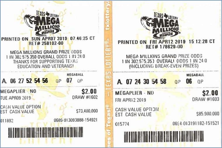 Билет лотереи Mega Millions