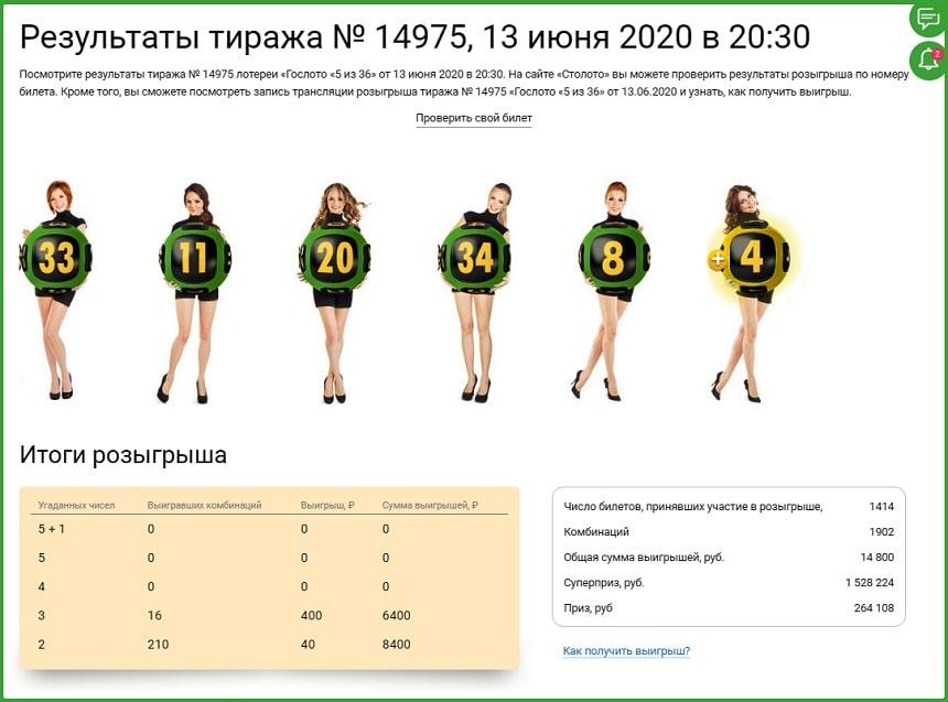 """Гослото """"5 из 36"""", результаты тиража № 14975"""