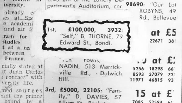 Итоги лотереи: Первый приз, 100 000 фунтов
