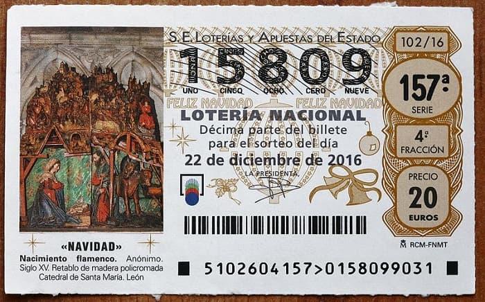 1 decimo Рождественской лотереи 2016 года